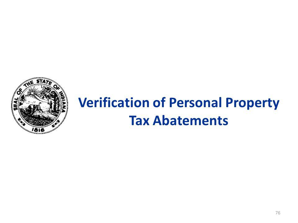 Verification of Personal Property Tax Abatements