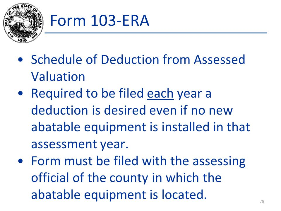 Form 103-ERA Schedule of Deduction from Assessed Valuation