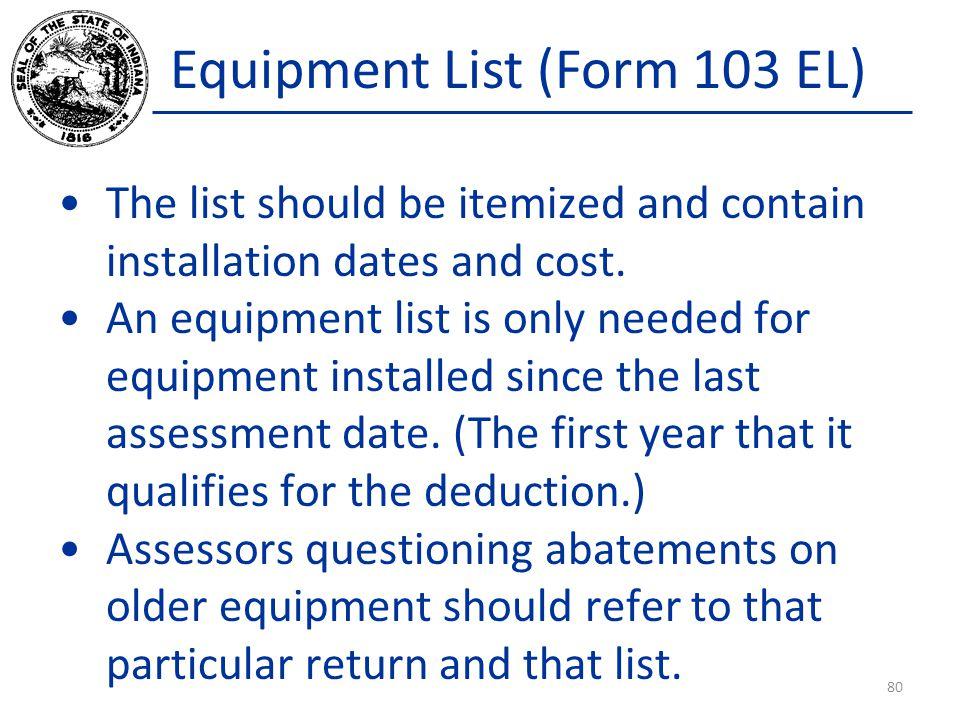 Equipment List (Form 103 EL)