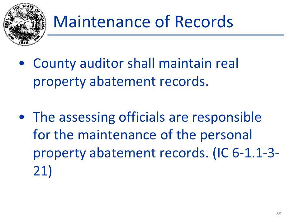 Maintenance of Records