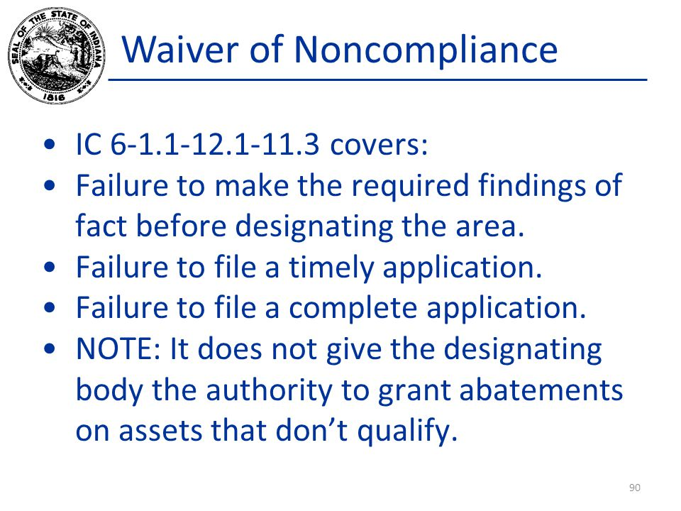 Waiver of Noncompliance