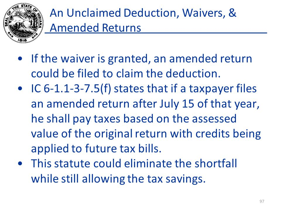 An Unclaimed Deduction, Waivers, & Amended Returns