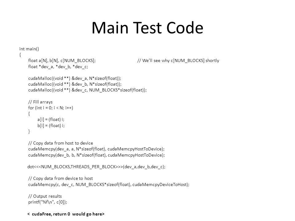 Main Test Code int main() {