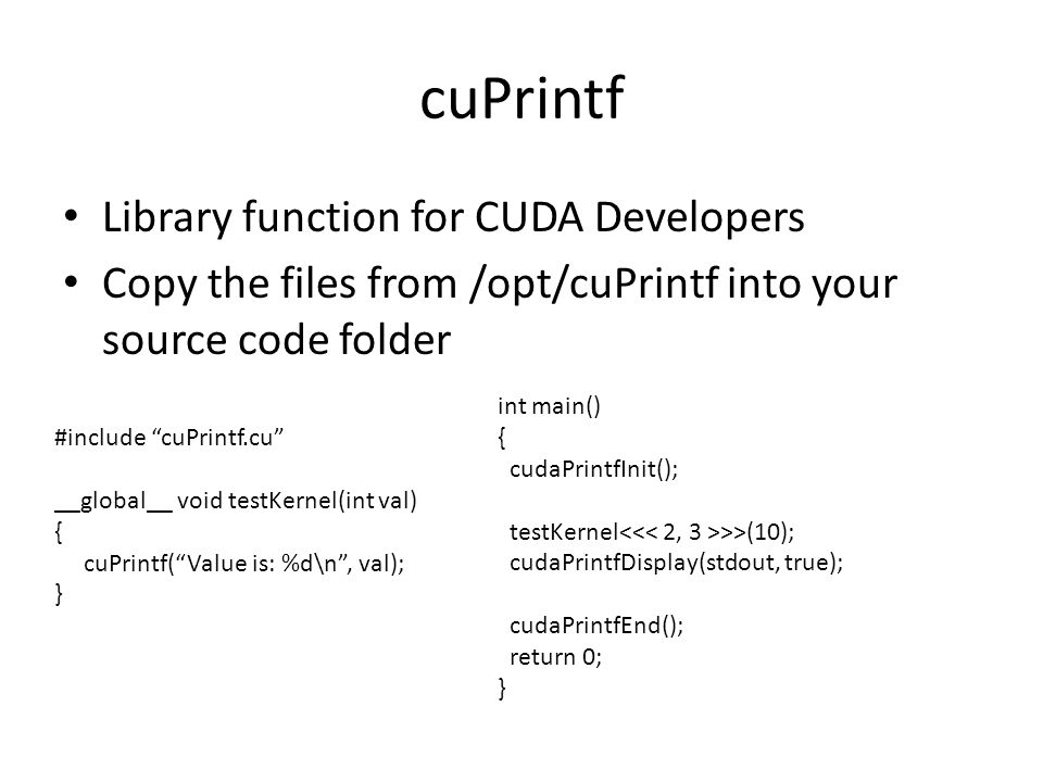 cuPrintf Library function for CUDA Developers