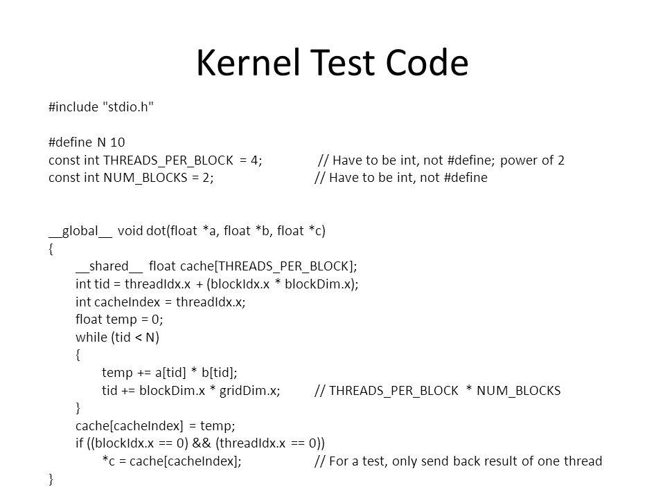 Kernel Test Code #include stdio.h #define N 10