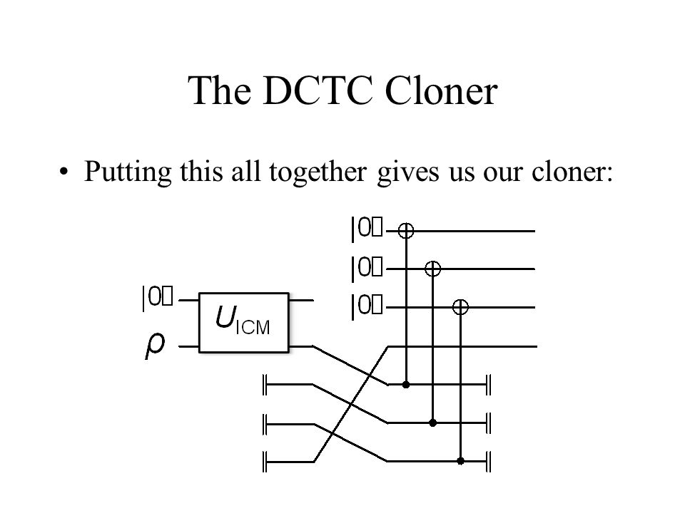 The DCTC Cloner Putting this all together gives us our cloner: