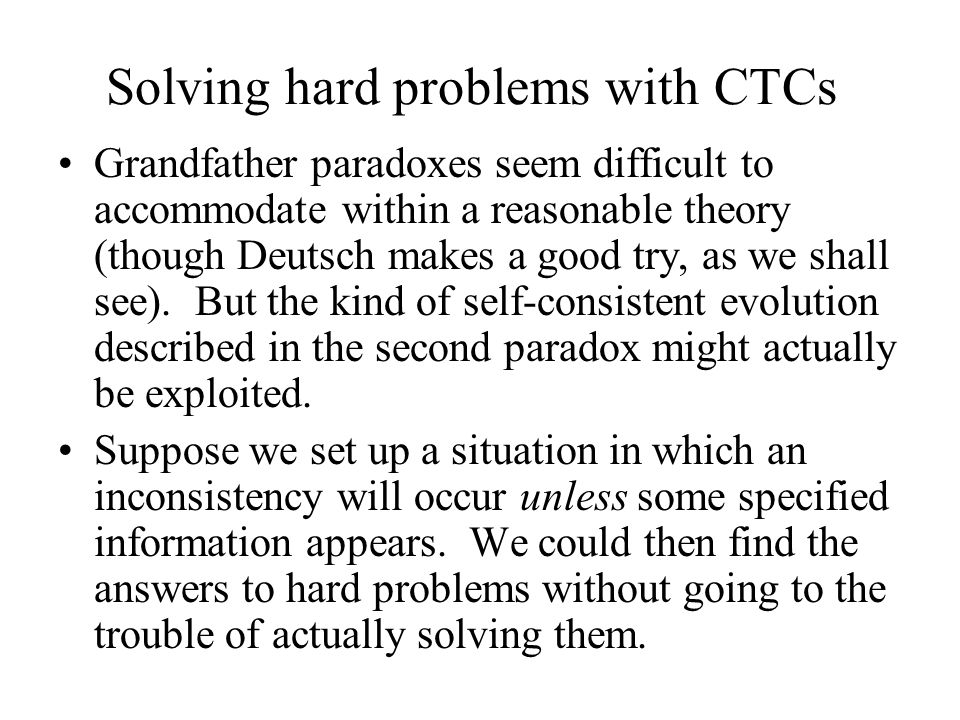 Solving hard problems with CTCs