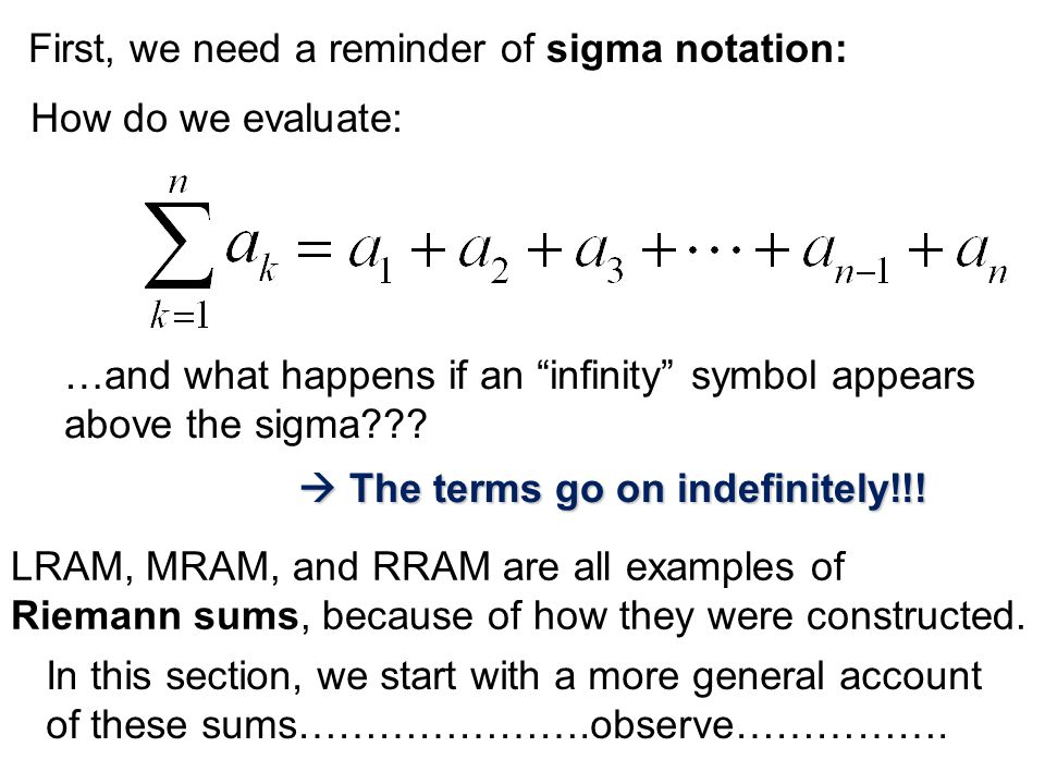 First, we need a reminder of sigma notation: