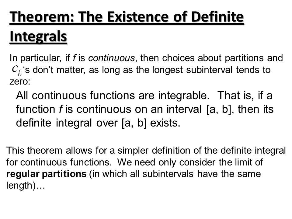 Theorem: The Existence of Definite Integrals