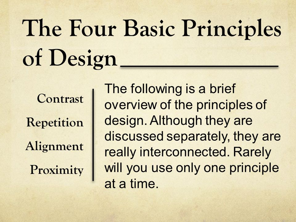 The Four Basic Principles of Design