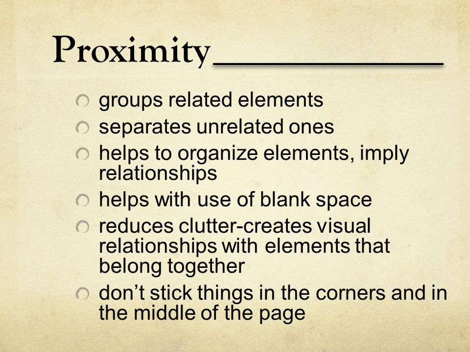 Proximity groups related elements separates unrelated ones