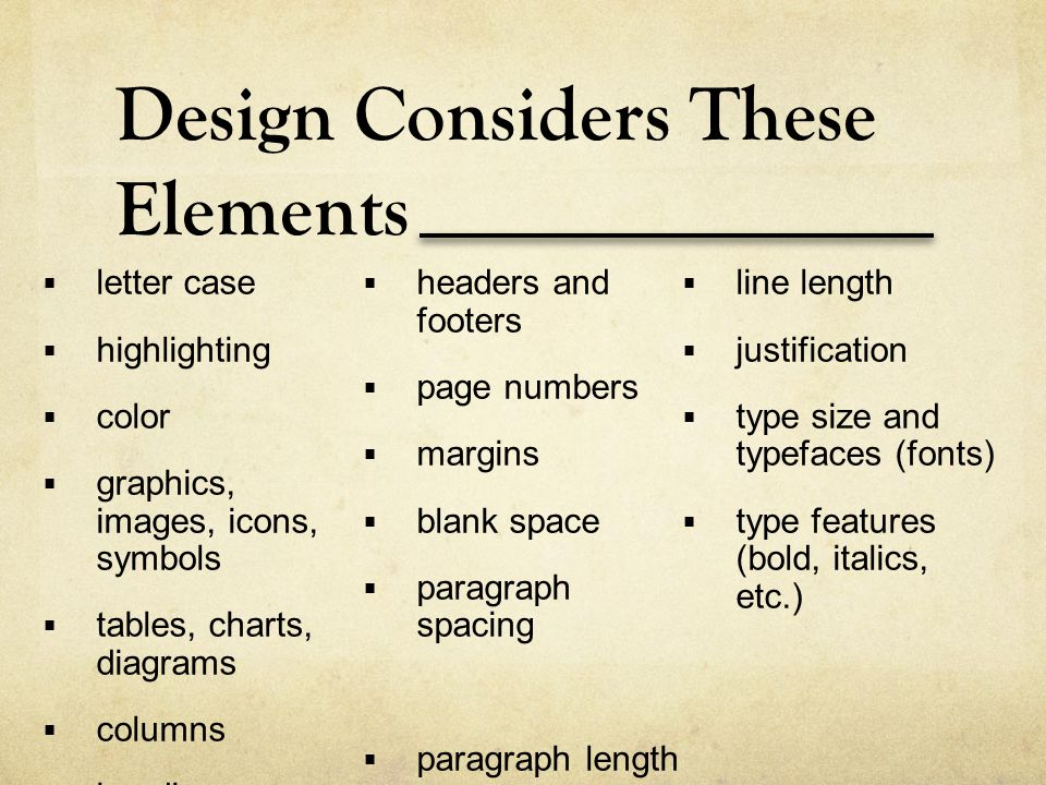 Design Considers These Elements
