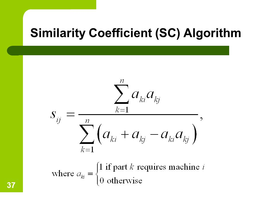 Similarity Coefficient (SC) Algorithm