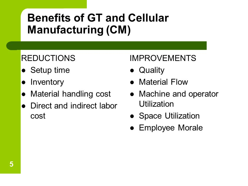 Benefits of GT and Cellular Manufacturing (CM)