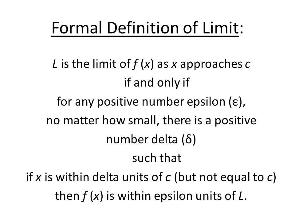 Formal Definition of Limit: