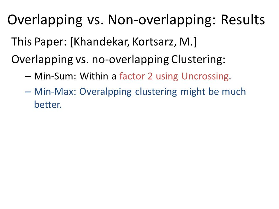 Overlapping vs. Non-overlapping: Results