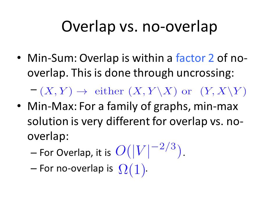 Overlap vs. no-overlap Min-Sum: Overlap is within a factor 2 of no-overlap. This is done through uncrossing: