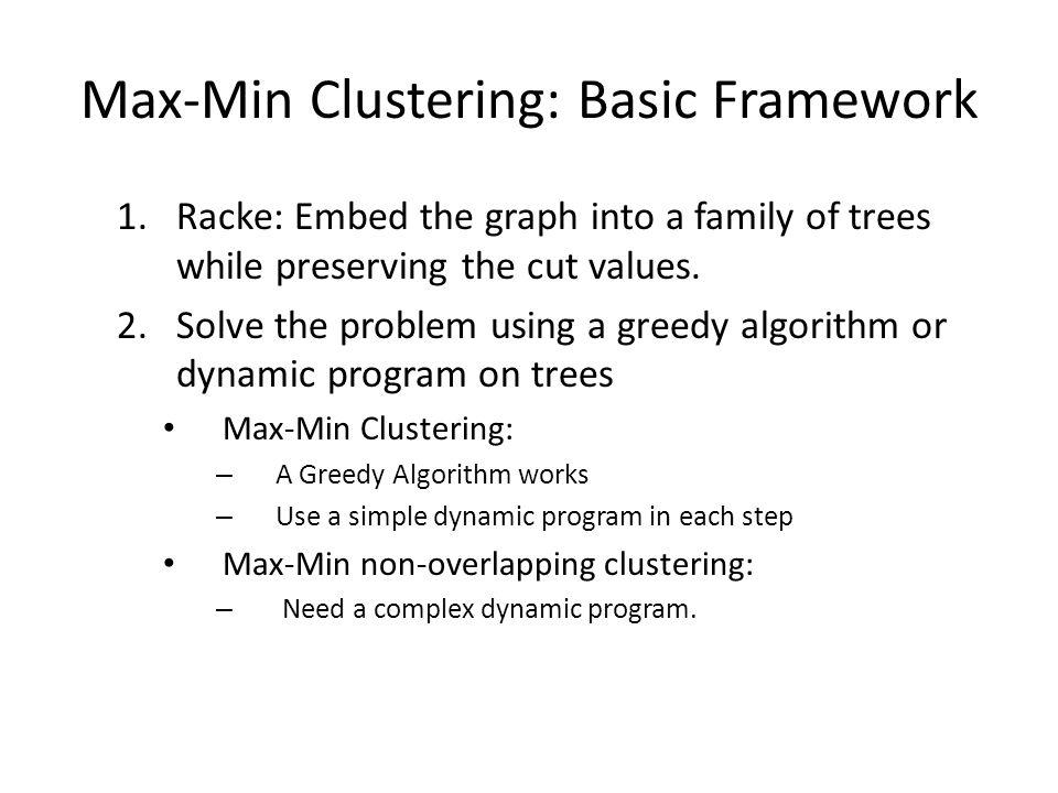 Max-Min Clustering: Basic Framework