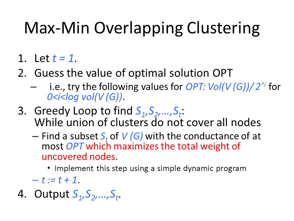 Max-Min Overlapping Clustering