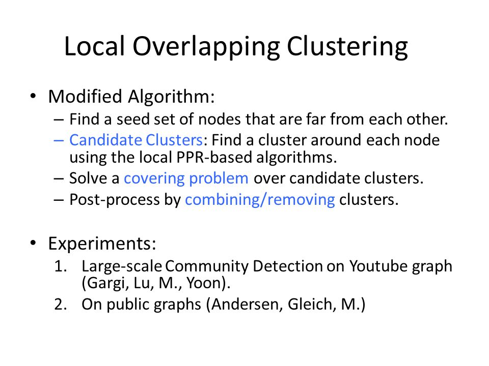 Local Overlapping Clustering