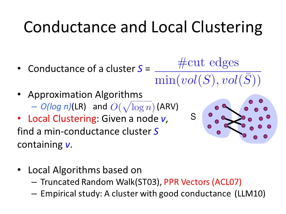 Conductance and Local Clustering