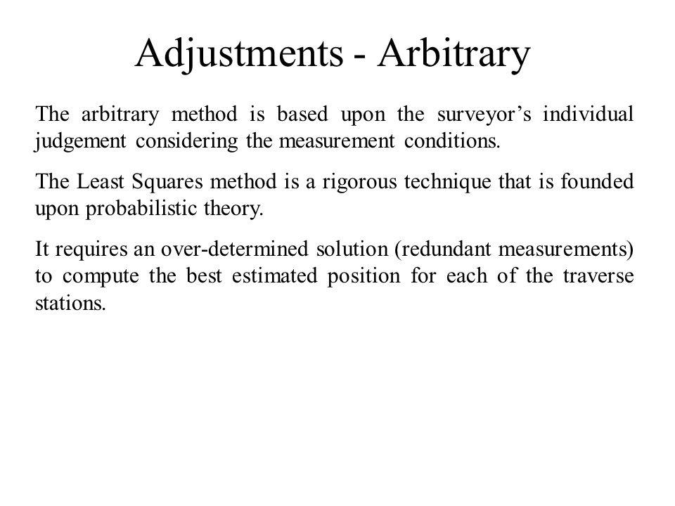 Adjustments - Arbitrary