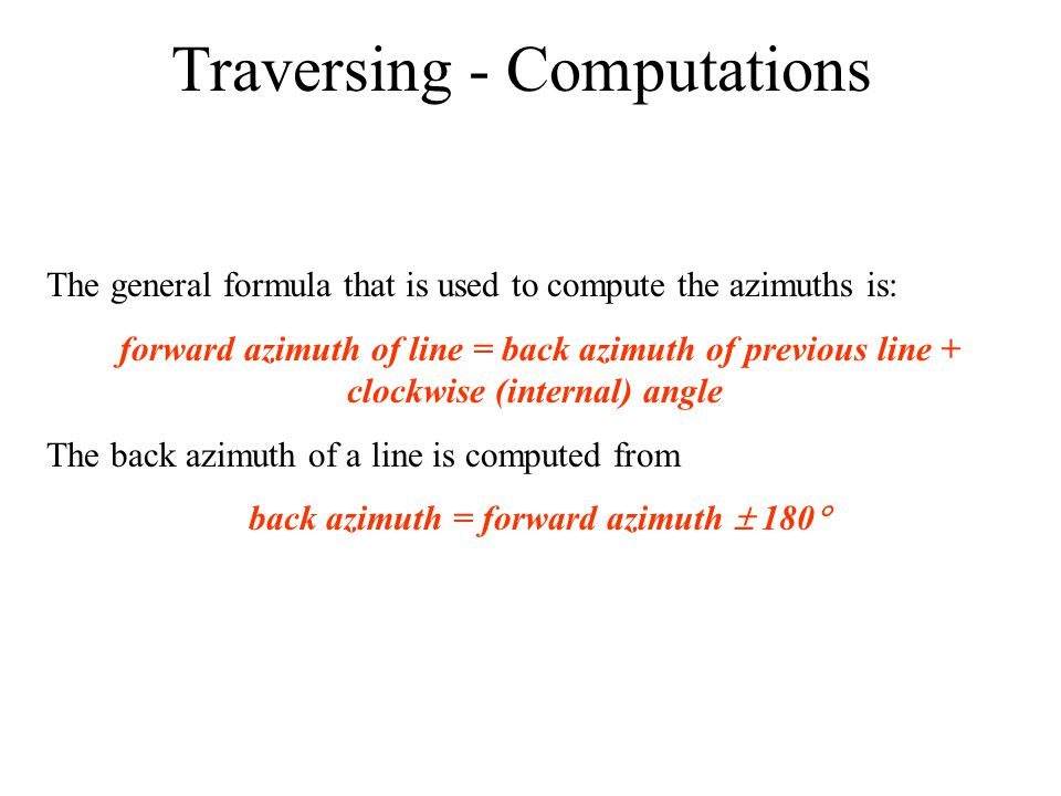 Traversing - Computations
