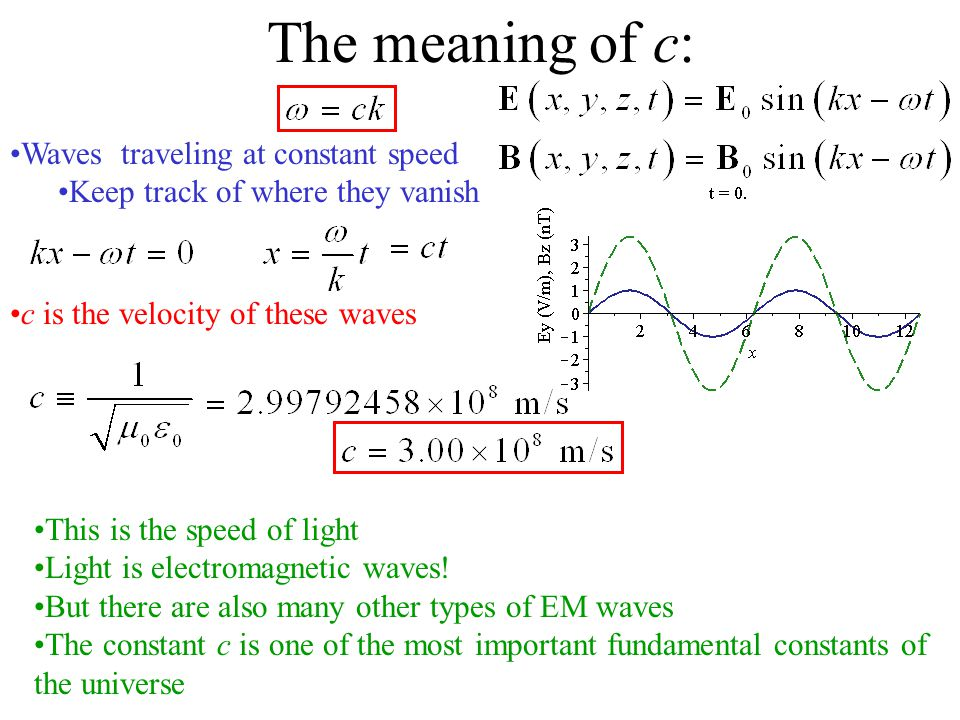 The meaning of c: Waves traveling at constant speed