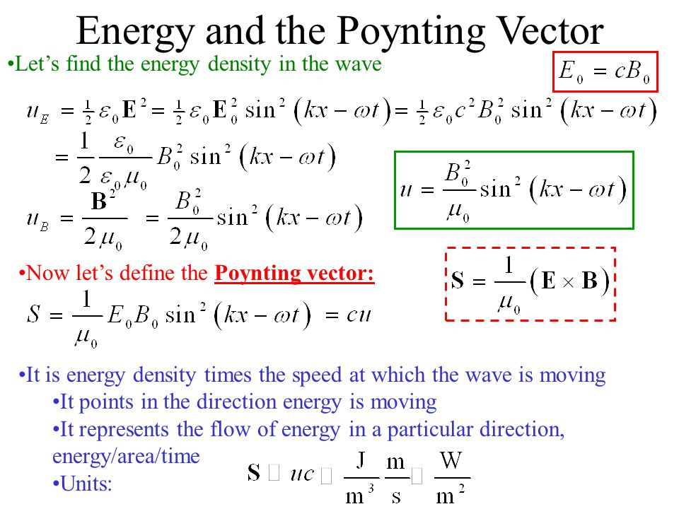 Energy and the Poynting Vector
