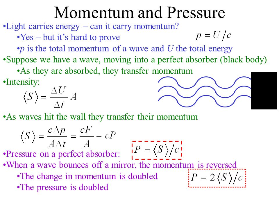 Momentum and Pressure Light carries energy – can it carry momentum