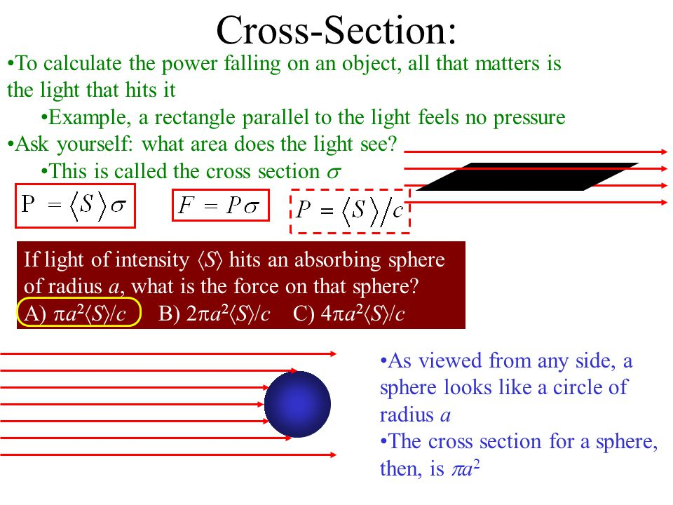 Cross-Section: To calculate the power falling on an object, all that matters is the light that hits it.
