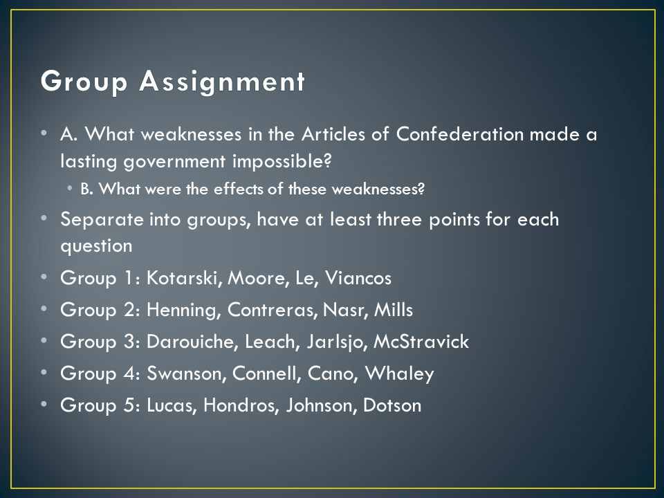 Group Assignment A. What weaknesses in the Articles of Confederation made a lasting government impossible