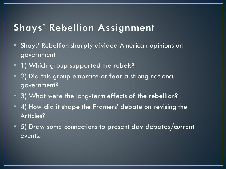Shays' Rebellion Assignment
