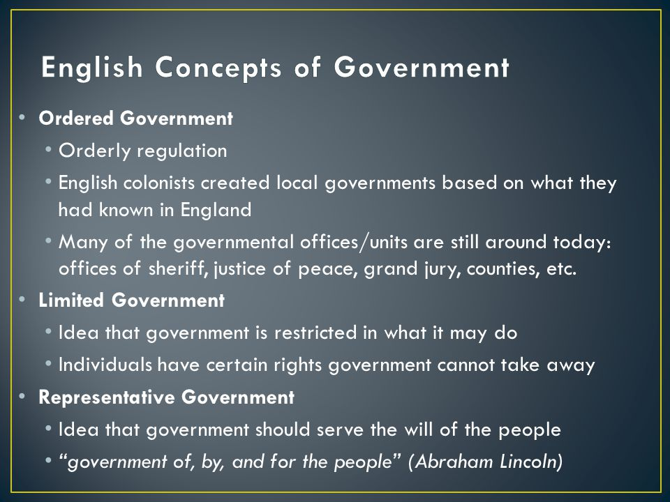 English Concepts of Government