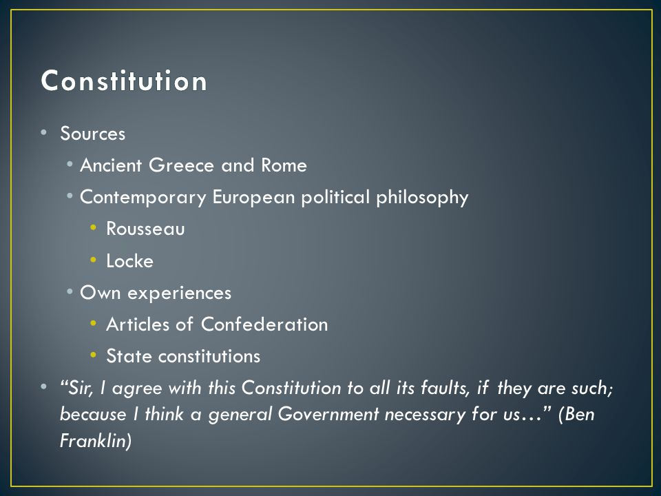 Constitution Sources Ancient Greece and Rome