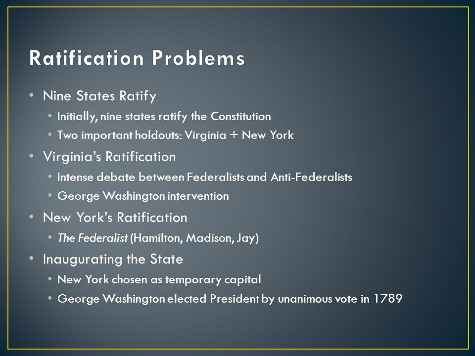 Ratification Problems