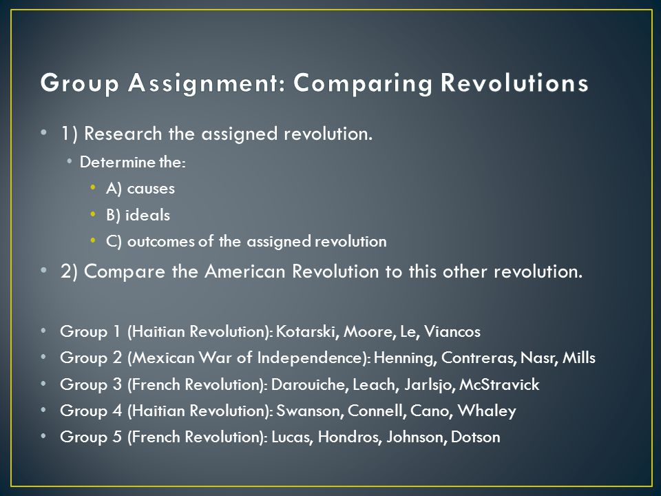 Group Assignment: Comparing Revolutions