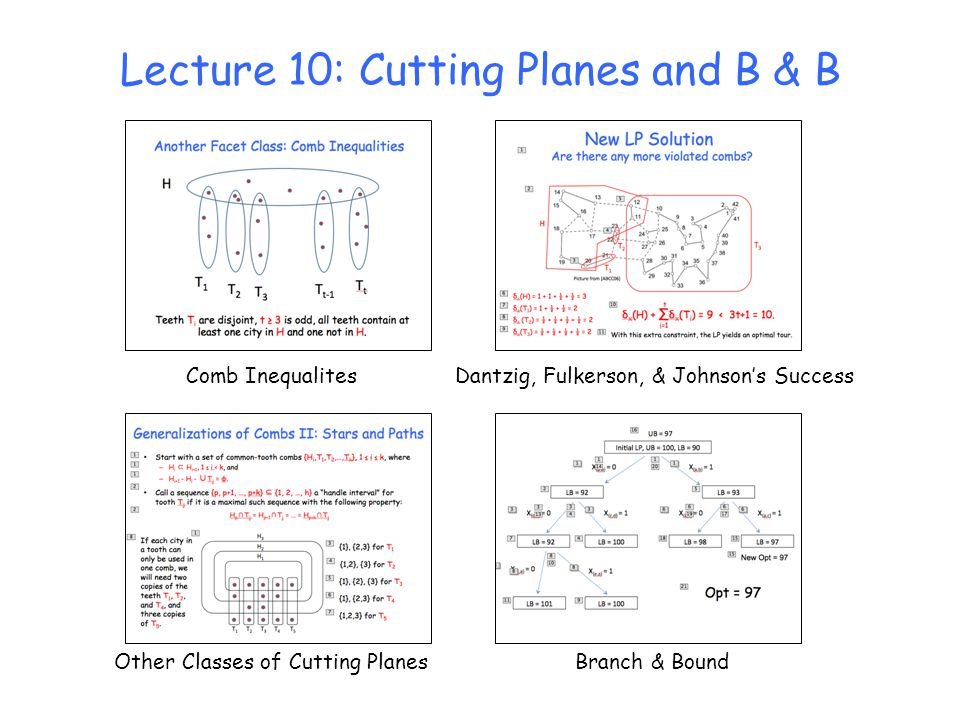 Lecture 10: Cutting Planes and B & B