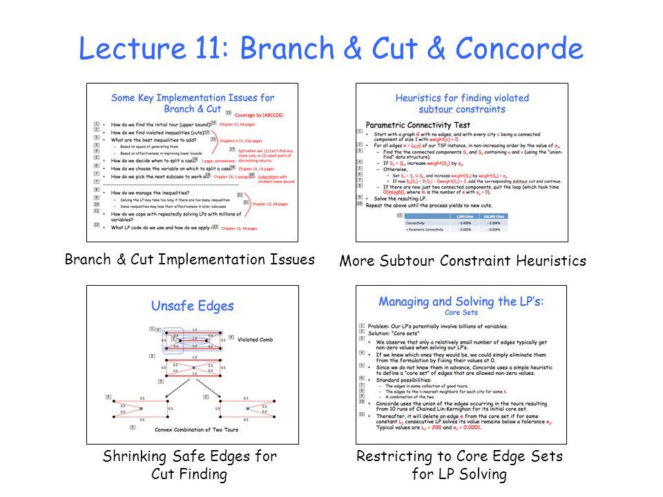 Lecture 11: Branch & Cut & Concorde