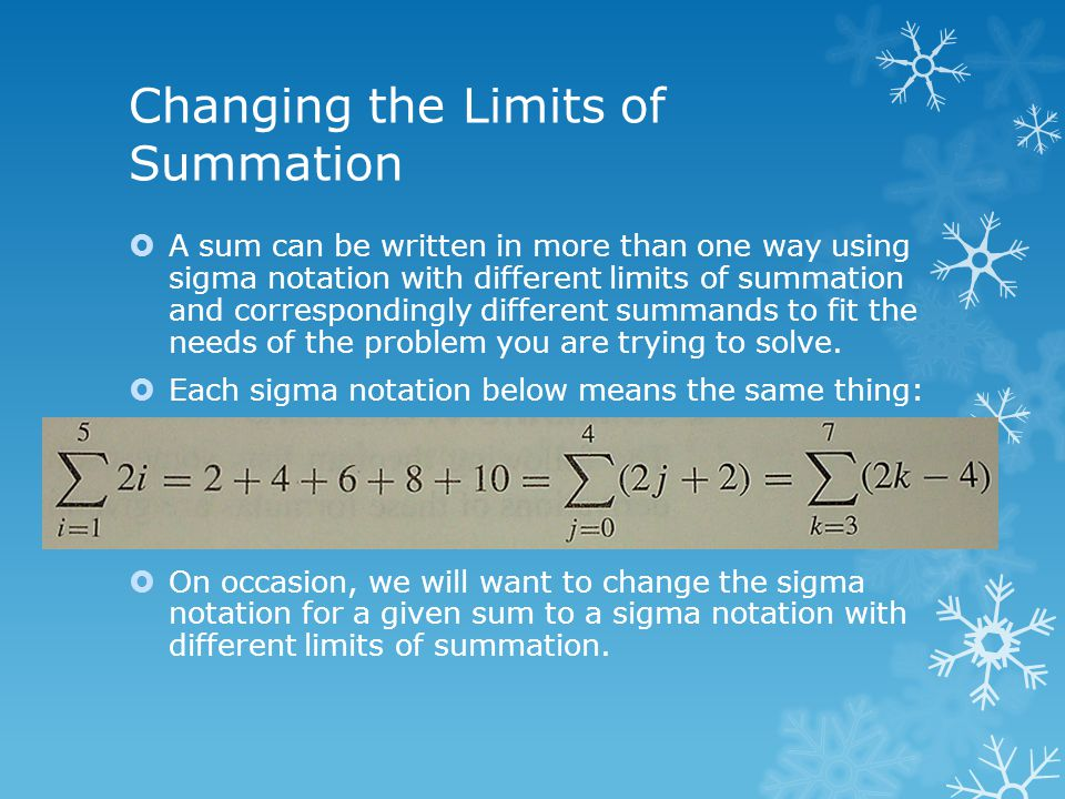 Changing the Limits of Summation