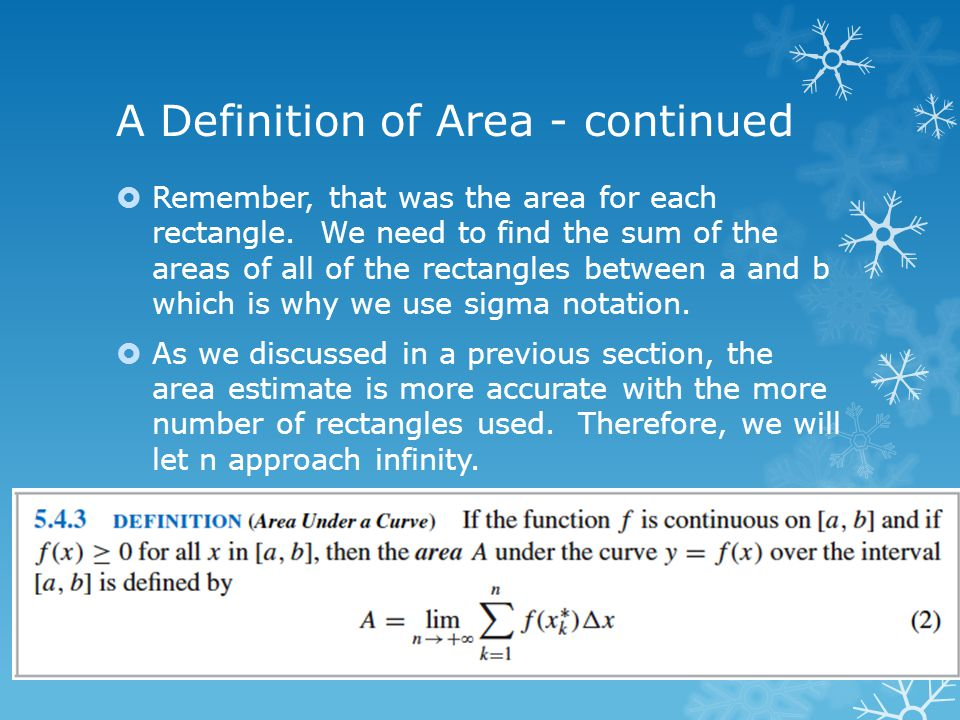 A Definition of Area - continued