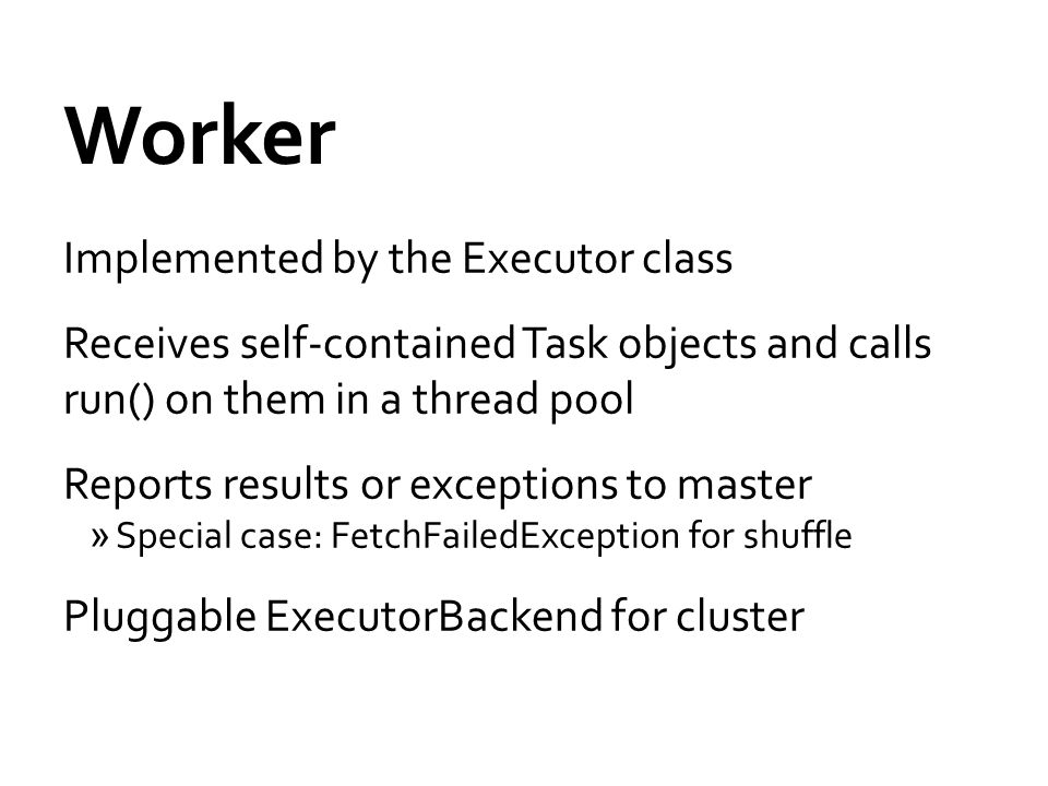 Worker Implemented by the Executor class