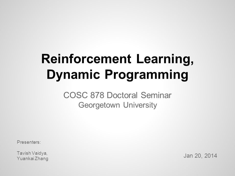Reinforcement Learning, Dynamic Programming