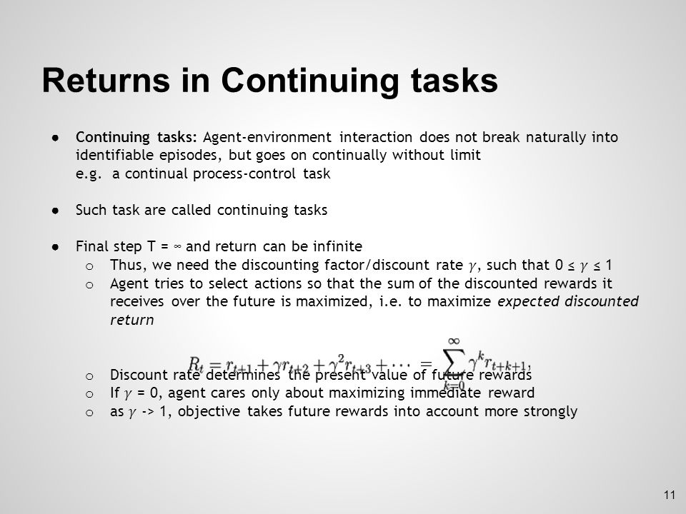 Returns in Continuing tasks