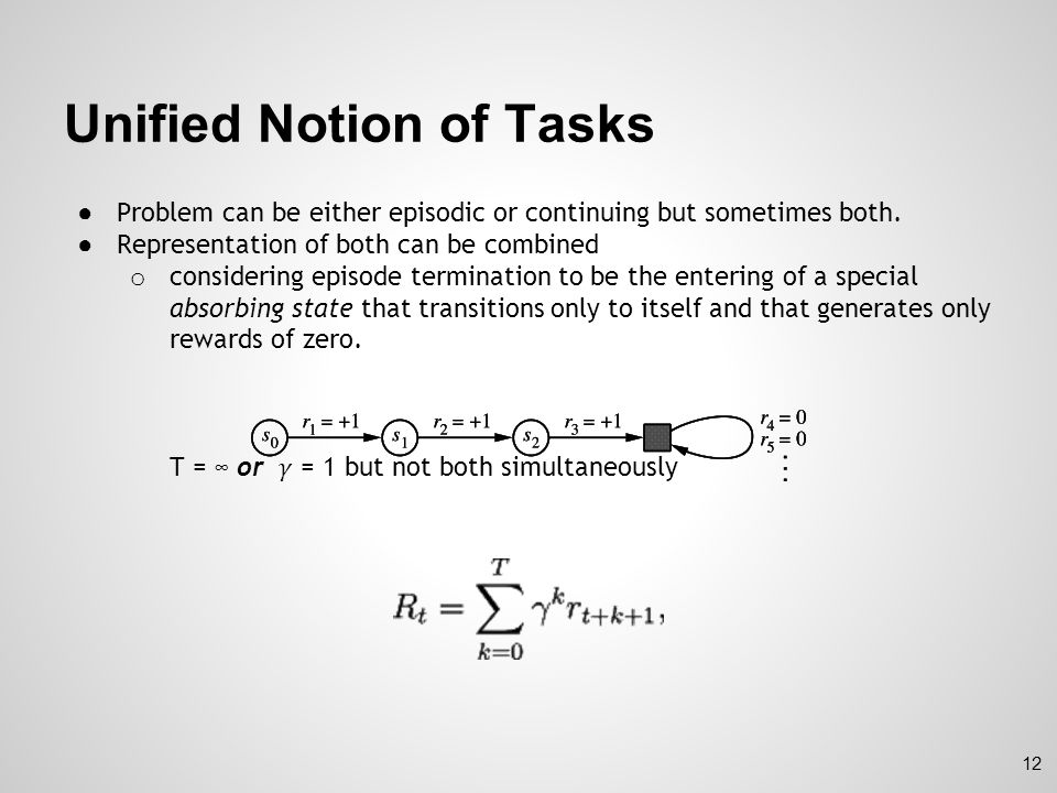 Unified Notion of Tasks
