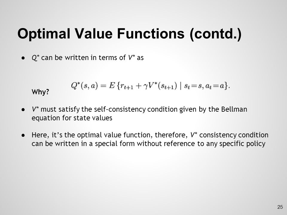 Optimal Value Functions (contd.)