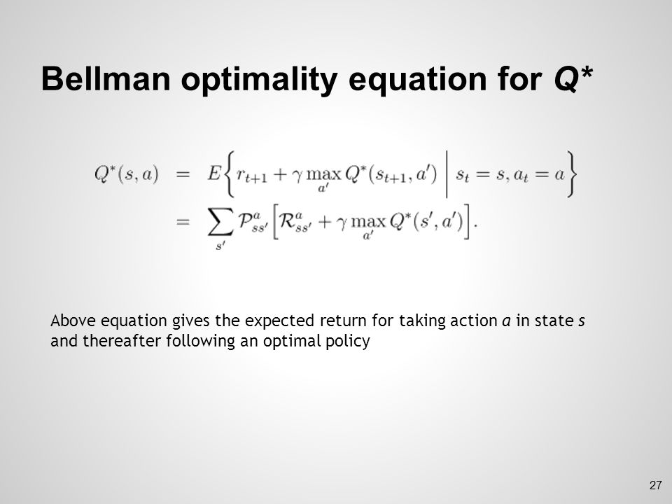 Bellman optimality equation for Q*