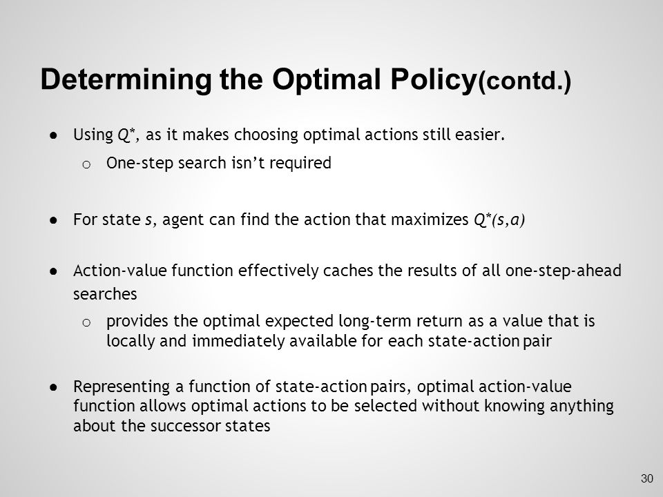 Determining the Optimal Policy(contd.)