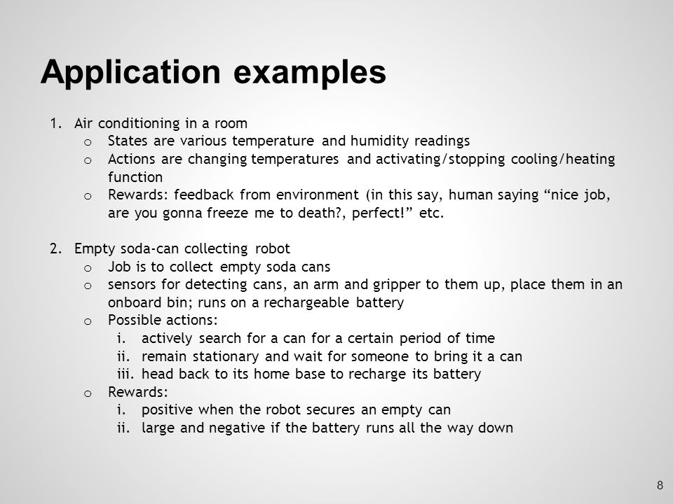 Application examples Air conditioning in a room