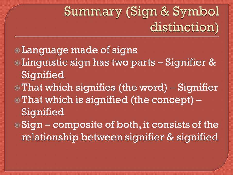 Summary (Sign & Symbol distinction)